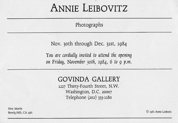 Annie Leibovitz Photographs Invitation