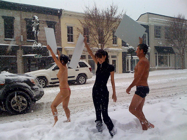 Christian Serratos, Michelle Cho, and Jack Ryan in snow at Govinda