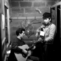 Bob Dylan with Mark Spoelstra in the basement at Gerde's Folk City, 11 W 4th St., Greenwich Village. 1961.