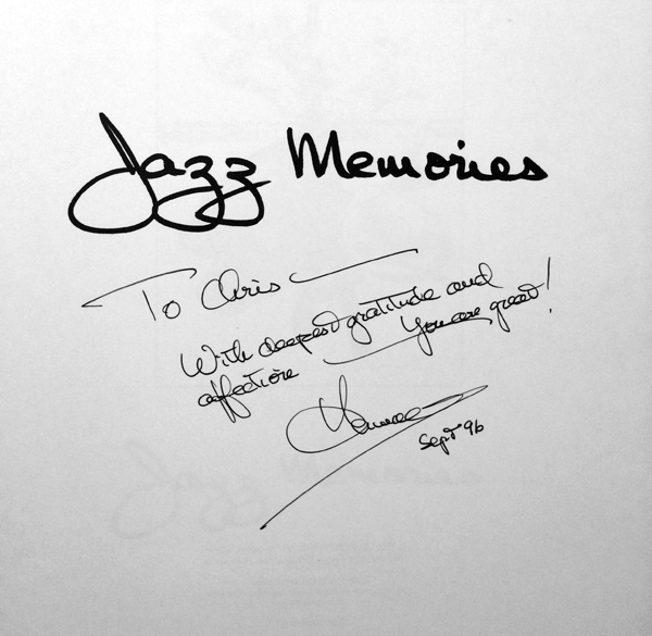 Inscribed copy of Jazz Memories.