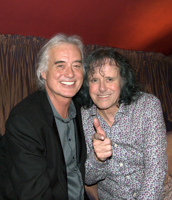Beautiful photo of two great friends and two great artists; Jimmy Page and Donovan. At the Gore Hotel after-party, 2011.  © Virgilio Fino.