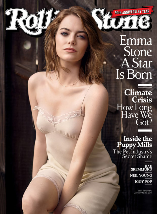 The 50th Anniversary issue of Rolling Stone magazine, featuring Emma Stone.