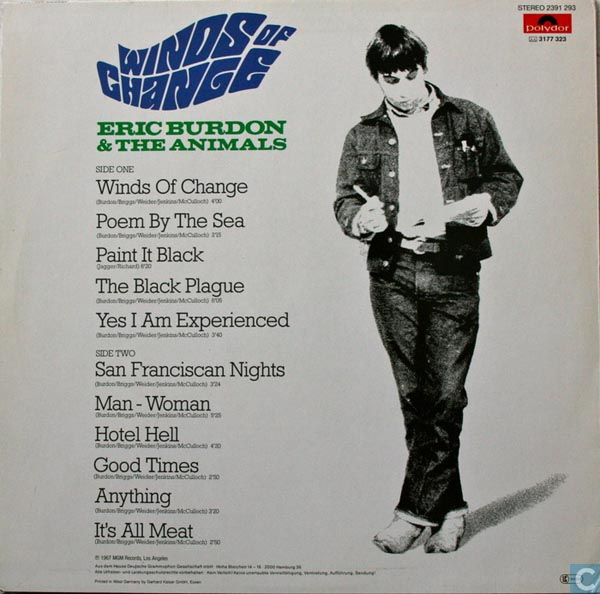 The back cover of Eric Burdon and The Animals album Winds of Change.