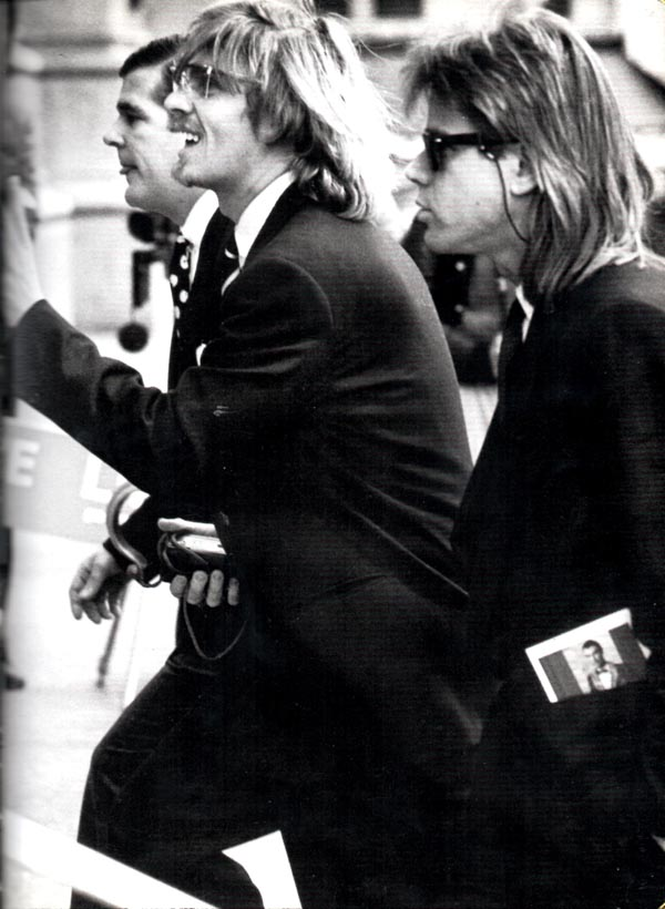 Chris Murray and Chris Makos at the memorial mass for Andy Warhol, New York City, 1987.